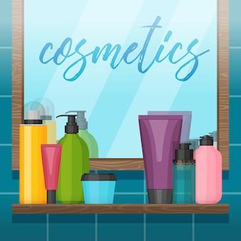 Bagno con specchio e flaconi per la cosmetica sullo scaffale.