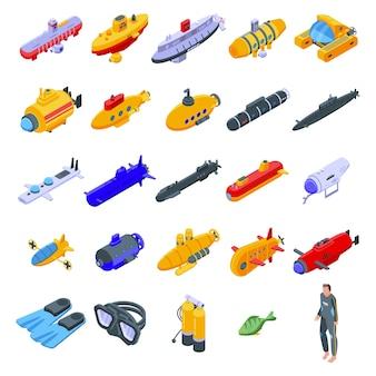 Set di icone di bathyscaphe. insieme isometrico delle icone del batiscafo per il web isolato su priorità bassa bianca