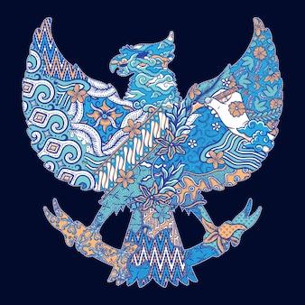 Illustrazione della siluetta di batik indonesia garuda