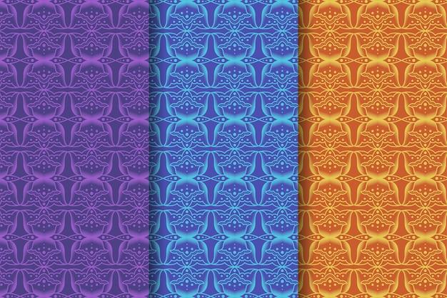 Batik seamless pattern temi floreali ci sono tre colori selezionati viola blu e giallo