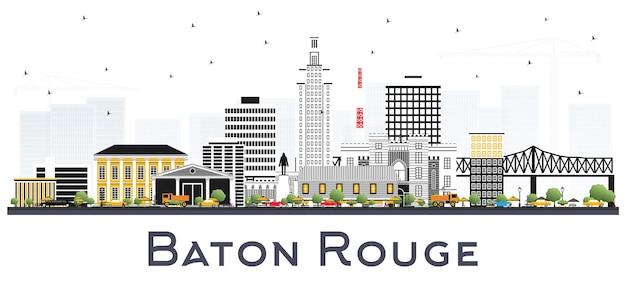 Orizzonte della città di baton rouge louisiana con edifici di colore isolato su bianco. illustrazione di vettore. viaggi d'affari e concetto di turismo con architettura moderna. paesaggio urbano di baton rouge usa con punti di riferimento.