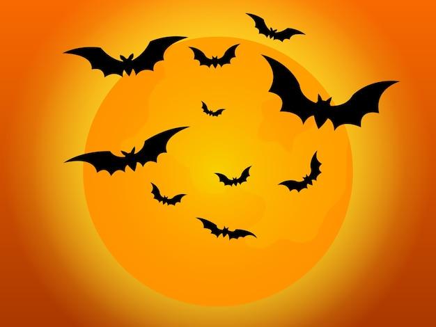 Pipistrelli che volano nella notte di halloween con l'illustrazione della luna piena