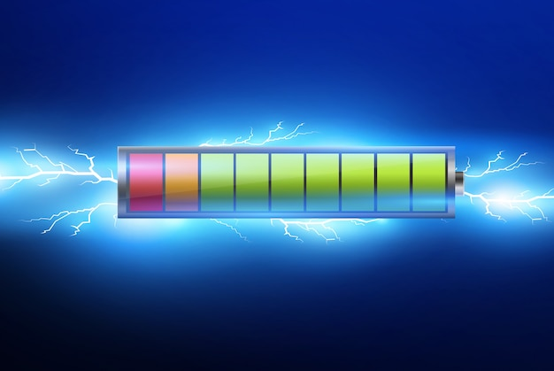Batterie con carica elettrica, luce pulsata ed elettricità. illustrazione