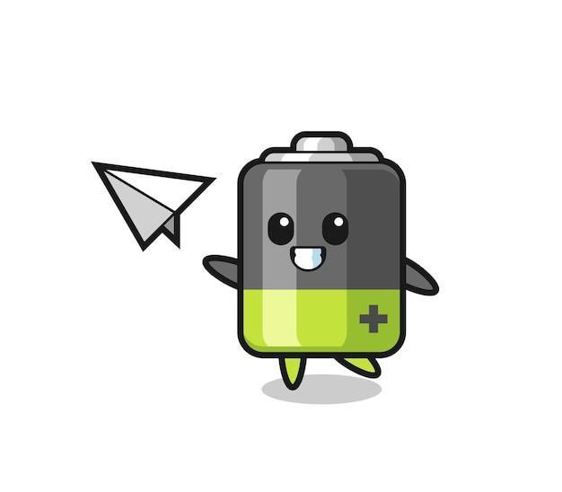 Personaggio dei cartoni animati della batteria che lancia aeroplano di carta, design in stile carino per maglietta, adesivo, elemento logo