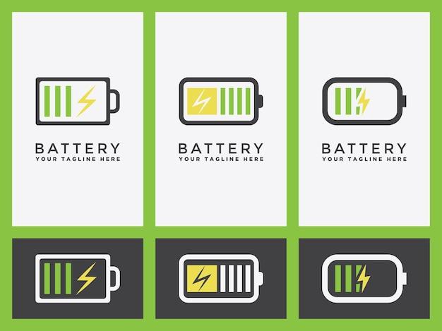 Logo di carica della batteria imposta o icona dell'indicatore nella progettazione grafica vettoriale