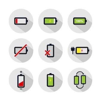 Insieme dell'icona della batteria, illustrazione della batteria isolata sul cerchio grigio