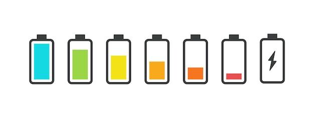 Icone della batteria. stato di carica del telefono, simboli dell'interfaccia utente dello smartphone. set di icone dell'indicatore di carica vettoriale, livello di segnalazione del carico di potenza