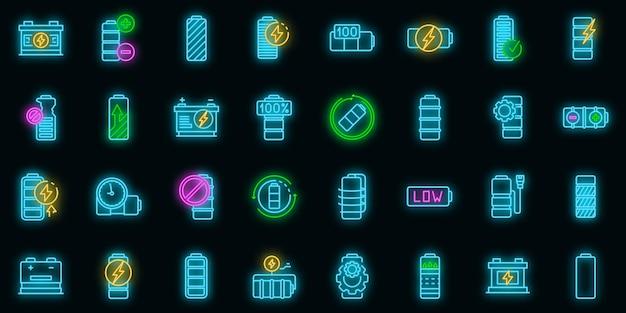 Icone della batteria impostate. contorno set di icone vettoriali batteria colore neon su nero