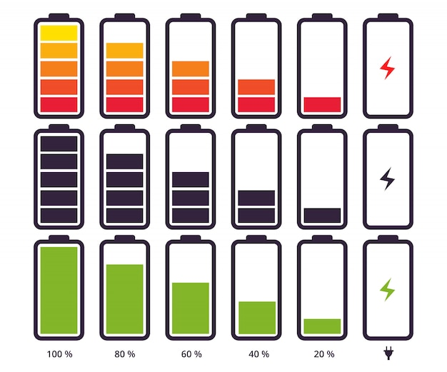 Simbolo indicatore batteria diverso livello di carica