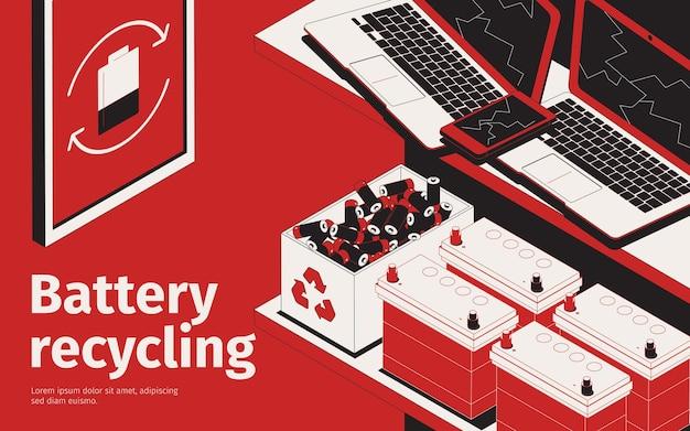 Illustrazione di riciclaggio della batteria