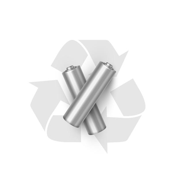 Illustrazione realistica di riciclaggio della batteria fonte di energia elettrica e simbolo ecologico