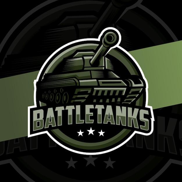 Design del logo esport della mascotte del carro armato da battaglia