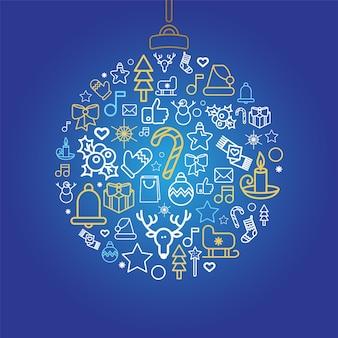 Siluetta della bagattella con le icone lineari di vacanza di natale. palla di natale con decorazioni festive isolate