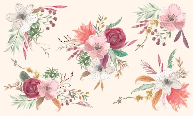Accumulazione dell'acquerello di bautiful composizione floreale vintage