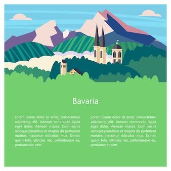 Baviera, germania. bei paesaggi, architettura tradizionale della baviera. castelli, borghi, montagne, campi. cartoline, loghi, emblemi con spazio per il testo.