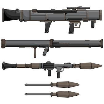 Insieme di disegno vettoriale bazooka