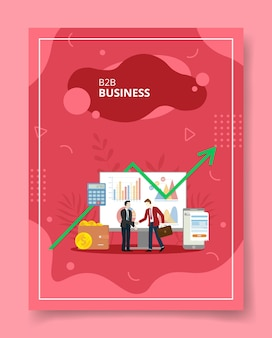 Bb business people handshake front computer statistic chart wallet smartphone per template of banner flyer books cover