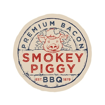 Bbq badge emblem logo template smokey piggy testo modificabile