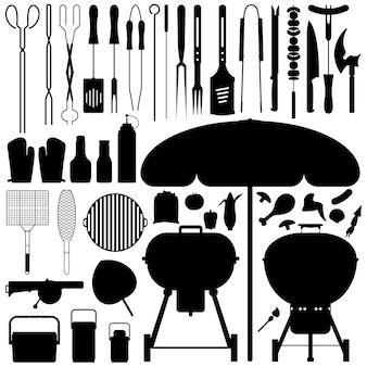 Bbq barbecue set silhouette vettore. un ampio set di strumenti per barbecue e cibo in silhouette.