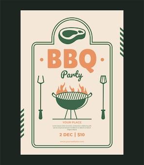 Bbq flyer poster template vector design