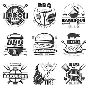 Set di emblemi per barbecue Vettore Premium
