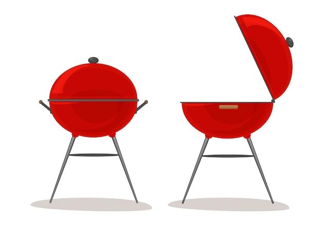 Barbecue e griglia. concetto indoor per picnic e cucina all'aperto. barbecue aperto e barbecue chiuso. illustrazione vettoriale isolato su sfondo bianco.