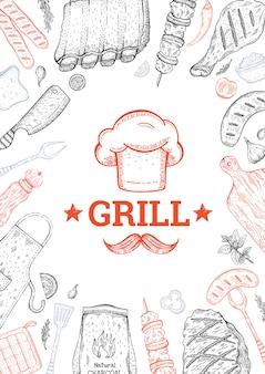 Menu barbecue e grill. sfondo di cibo barbecue. stile vintage. schizzo doodle.