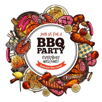 Bbq grill party color sketch round label