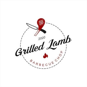 Bbq logo simple lamb ribs grill