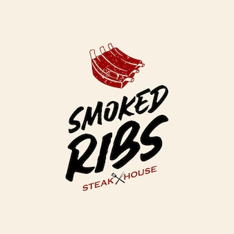 Bbq logo simple ribs barbecue vector