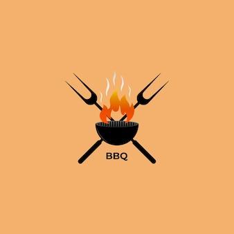 Logo barbecue con elemento grill barbecue
