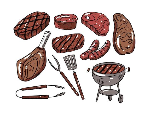 Bbq carne hand drawingset isolato su bianco