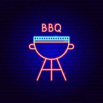 Etichetta al neon per barbecue. illustrazione vettoriale di promozione barbecue.