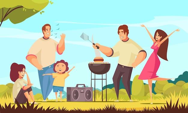 Composizione del partito del barbecue con il paesaggio all'aperto del tempo soleggiato e un gruppo di bambini e dell'illustrazione dei caratteri di scarabocchio dell'adulto