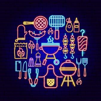 Concetto al neon del partito del bbq. illustrazione vettoriale di promozione barbecue.
