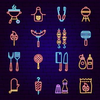 Icone al neon del partito del barbecue. illustrazione vettoriale di promozione barbecue.