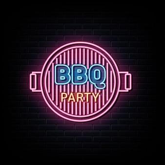 Bbq party neon logo insegna al neon e simbolo