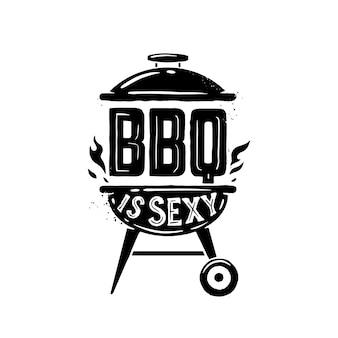 Tempo di barbecue. poster di tipografia disegnati a mano.