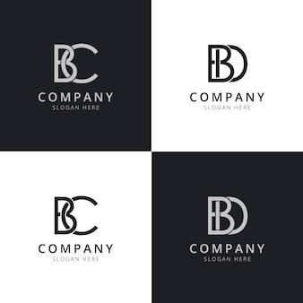 Modelli di logo iniziale della lettera bc bd