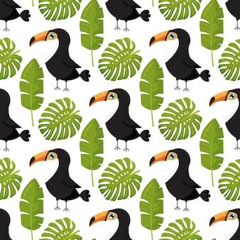Sfondo con foglie tropicali e tucani reticolo senza giunte per un design elegante del tessuto