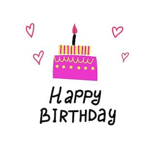 Torta di compleanno con candela biglietto di celebrazione illustrazione vettoriale