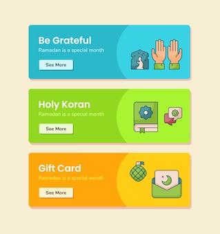 Sii grato carta regalo del sacro corano per il modello di banner con illustrazione di disegno vettoriale in stile linea tratteggiata