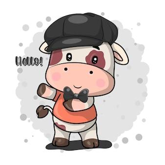Sii felice biglietto di auguri con simpatico cartone animato mucca