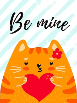 Be mine biglietto di auguri di san valentino simpatico gatto rosso con testo a cuore su sfondo a strisce vector