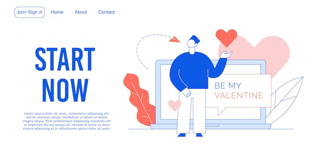 Sii il mio design di landing page per il servizio di incontri di san valentino