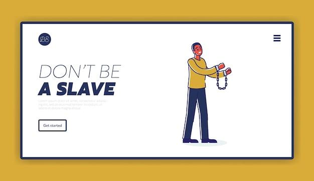 Non essere sfondo modello di pagina di destinazione schiavo con uomo afroamericano in manette