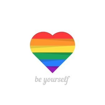 Sii te stesso con il cuore iridescente. concetto di non tradizionale, felice giorno di san valentino, stile di vita, genere, matrimonio. isolato su sfondo bianco. stile piatto tendenza moderna logo design illustrazione vettoriale