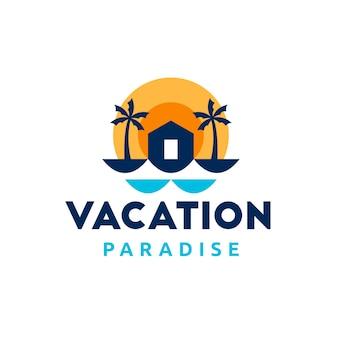 Modello di logo di appartamento sulla spiaggia