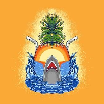 Disegno dell'illustrazione dell'atmosfera della spiaggia con lo squalo