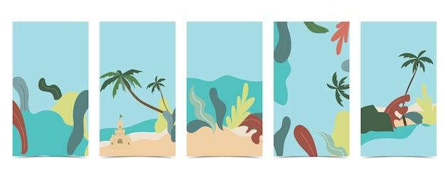Sfondo spiaggia per social media con cielo, sabbia, sole